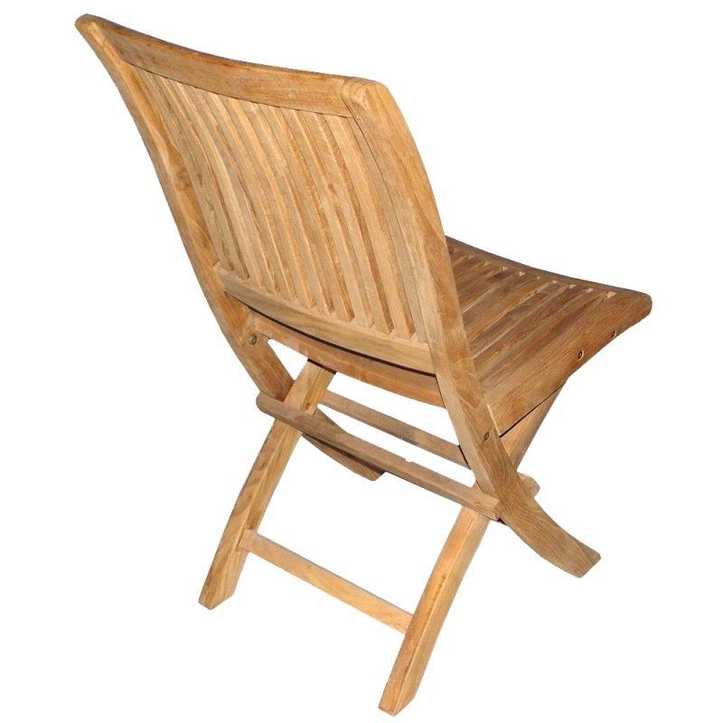 Alice Teak Folding Chair Rear View