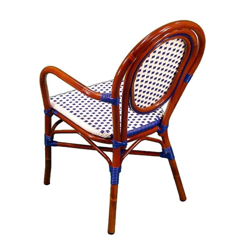 Parisienne Armchair Ivory Blue Rear