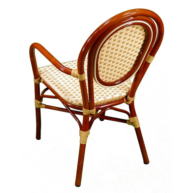 Parisienne Armchair Ivory Honey Back View