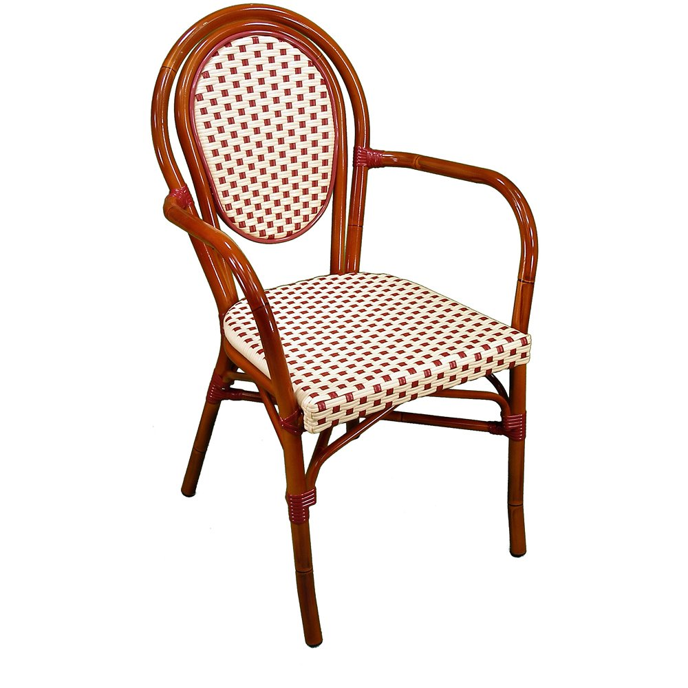 Parisienne Armchair Ivory Red Front View