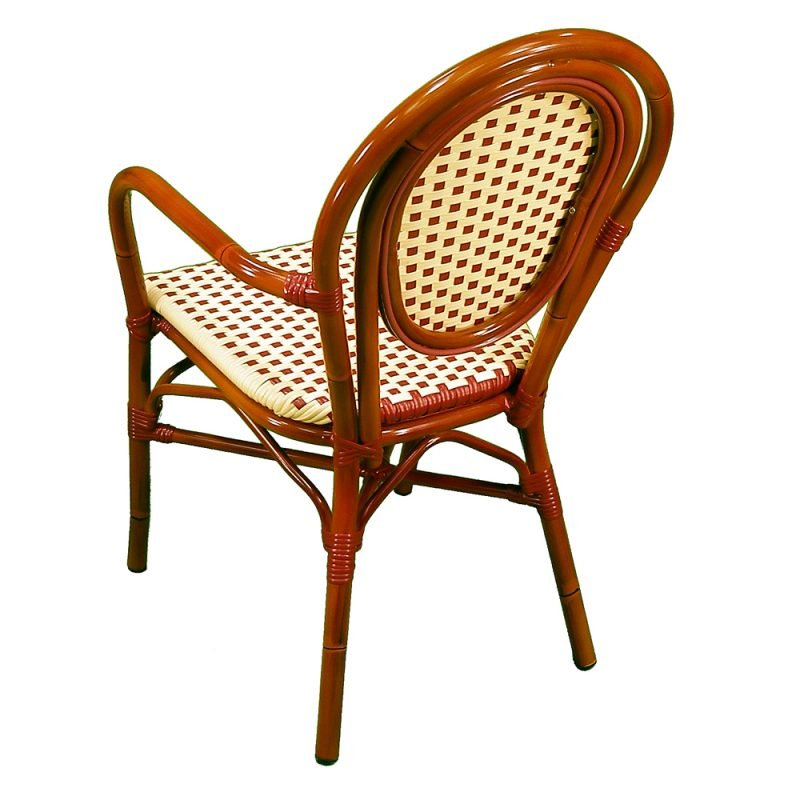 Parisienne Armchair Ivory Red Rear View