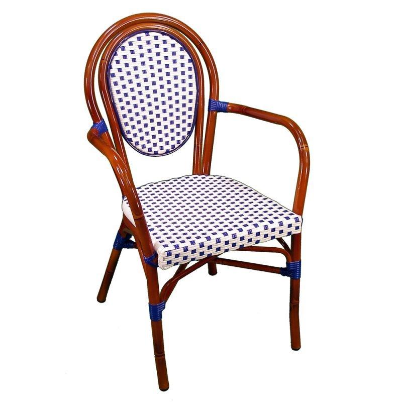 Parisienne Armchair White Blue Front