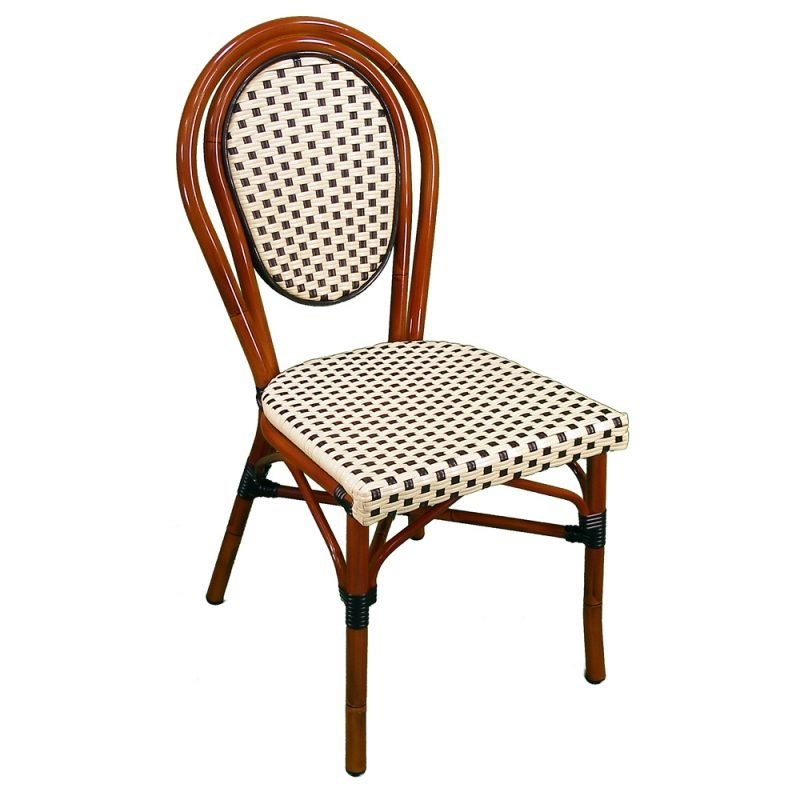 Parisienne Side Chair Ivory Black Front View