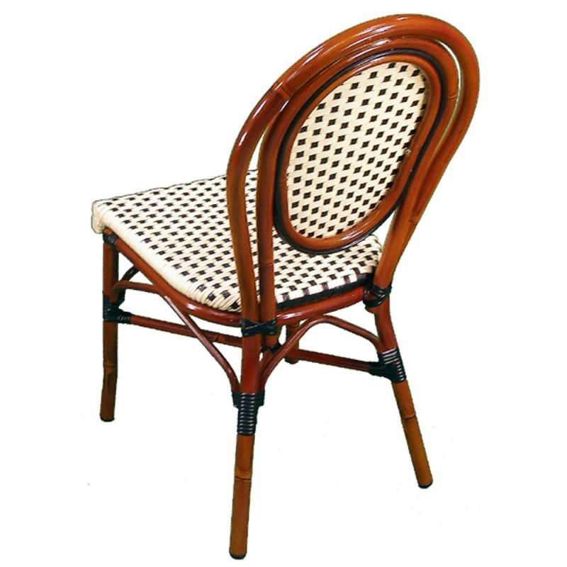 Parisienne Side Chair Ivory Black Rear View