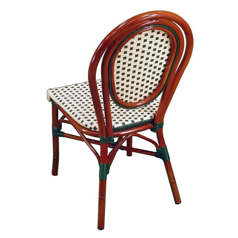 Parisienne Side Chair Ivory Green Rear