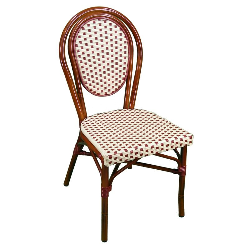 Parisienne Side Chair Ivory Red Front View