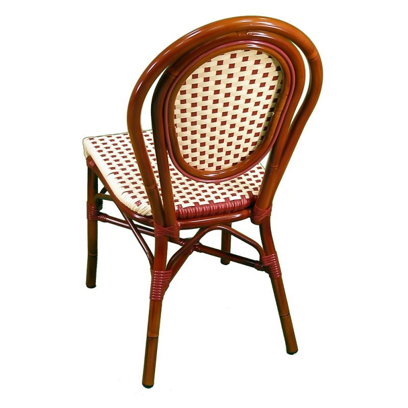 Parisienne Side Chair Ivory Red Rear View