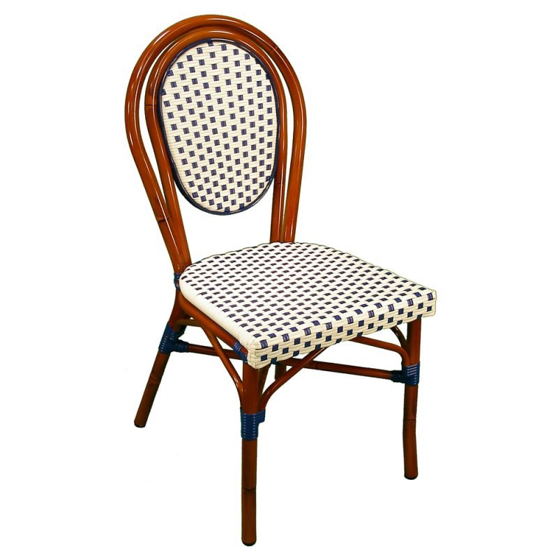 Parisienne Side Chair White Blue Front View