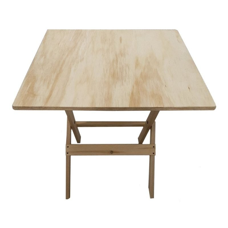 30x30 Folding Table Wood Front View