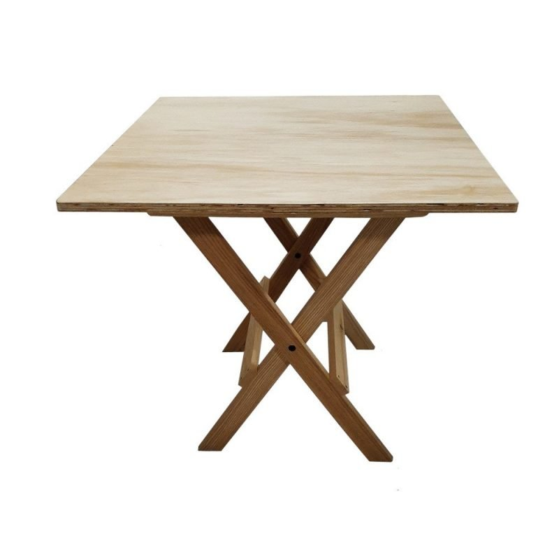 30x30 Folding Table Wood Side View